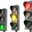 Three traffic lights, red green and yellow — Stock Photo