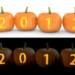 2012 text carved on pumpkin jack lantern — Stock Photo #14616595