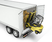 Fork lift truck falling from unsecured semi trailer — Stock Photo