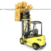 Fork lift truck with high load hits wires — 图库照片