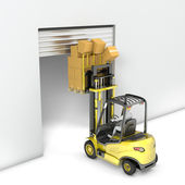 Fork lift truck with high load hits door — Stock Photo