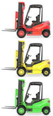 Three fork lift trucks colored as traffic lights — Stock Photo
