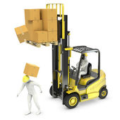 Worker was hit by cardboard falling from lift truck fork — Stock Photo