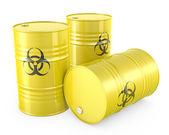 Three yellow barrels with biohazard symbol — Stock Photo