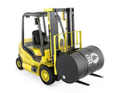 Yellow fork lift lifts oil barrel — Stock Photo