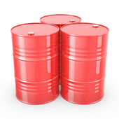 Three red barrels — Stock Photo