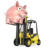 Fork lift truck lifts up coin bank — Stock Photo