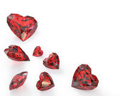 Few heart cut rubies — Stock Photo