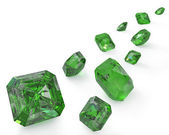 Path of green emeralds — Stock Photo