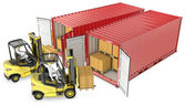 Two yellow lift truck unloading containers — Stock Photo
