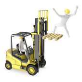 Abstract white man falling from lift truck fork — Stock Photo