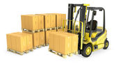 Yellow fork lift truck with stack of carton boxes — Stock Photo
