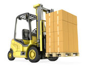 Yellow fork lift truck with big stack of carton boxes — Stock Photo