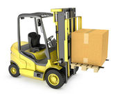 Yellow fork lift truck with large carton box — Stock Photo