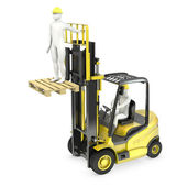 Abstract white man in a fork lift truck, lifting other worker on — Stock Photo