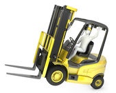 Abstract white man in a fork lift truck, balancing on rear wheel — Stock Photo