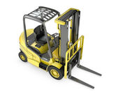 Yellow fork lift truck, top view — Stock Photo
