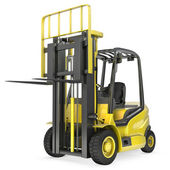 Yellow fork lift truck with raised fork, front view — Stock Photo