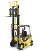 Yellow fork lift truck with raised fork — Stock Photo