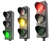 Three traffic lights, red green and yellow — Foto de Stock