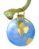 Christmas bauble hanging on cobra, America part — Stock Photo