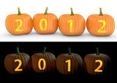2012 text carved on pumpkin jack lantern — Stock Photo