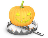 Pumpkin jack lantern in a bear trap — Stock Photo