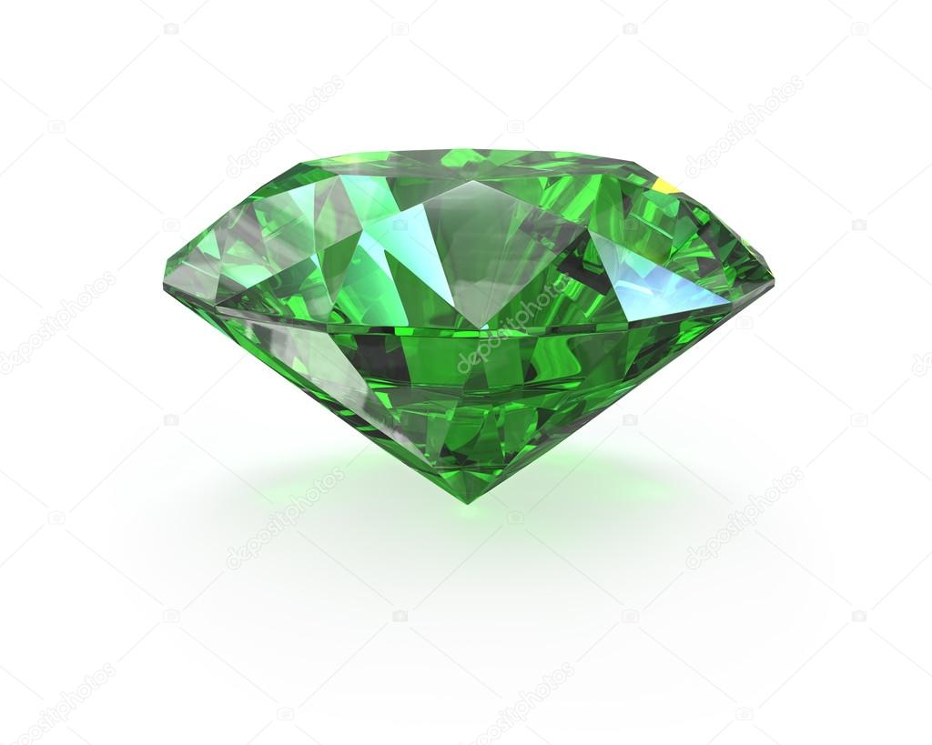 Green round cut emerald, isolated on white — Stock Photo #14616183