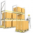 Worker moves boxes with pallet truck — Stock Photo #19241973