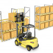 Forklift truck loads pallet on the rack — Stock Photo