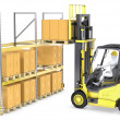 Stock Photo: Forklift truck loads pallet on rack
