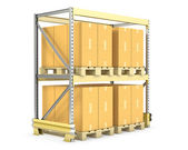 Pallet rack with cargo — Stock Photo