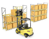 Forklift truck loads pallet on the rack — Stock Photo