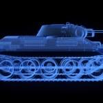 X-ray version of soviet t34 tank — Stock Photo