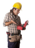 Operator with toolbox — Stock Photo