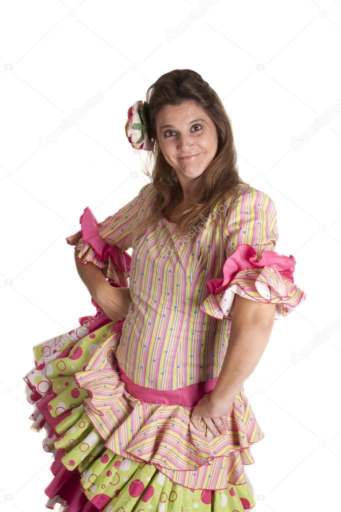A girl with a Spanish costume, flamenco dress  Stock Photo #12838471