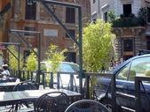Cafe in old Roman area Trastevere — Stock Photo