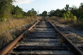 Looking down Railroad tracks towards street — Stock Photo