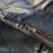 Leather jacket detail with zipper — Stock Photo