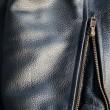 Leather jacket sleeve detail with zipper — Stock Photo