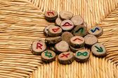 Germanic Runes on wicker surface — Stock Photo