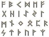 Metallic runes illustration on white — Stock Photo
