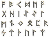 Metallic runes illustration on white — Stock Photo