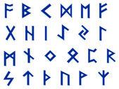 Blue runes illustration on white — Stock Photo