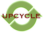 Upcycle with recycle arrows — Stock Photo