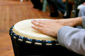 Drum circle woman hands — Stock Photo