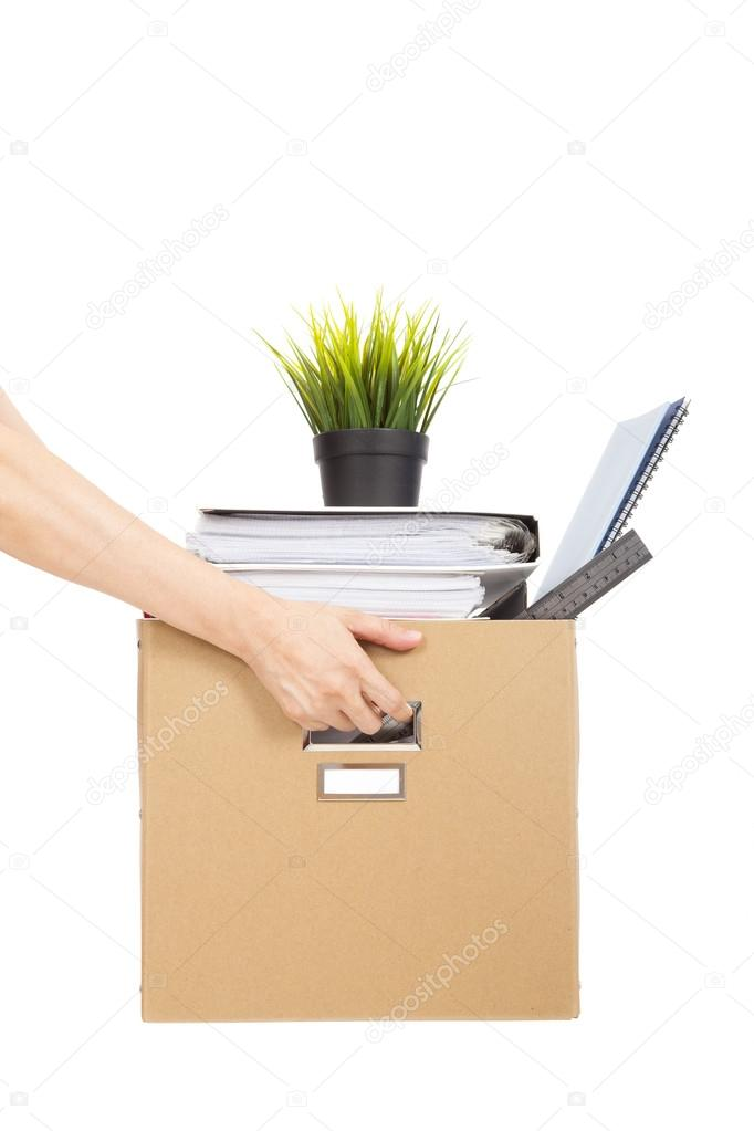 Lose job concept.hand holding the box of laid off employee — Stock Photo #12144433