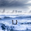 Global warming and extreme weather concept. man drowning in the — Stock Photo