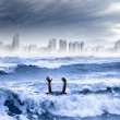 Global warming and extreme weather concept. man drowning in the - Stock Photo
