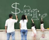 Famiglia attingendo denaro casa vestiti e videogioco simbolo il — Foto Stock